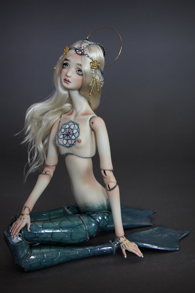 IMG 0014 Fine Art Porcelain BJD Mermaid Doll Antares