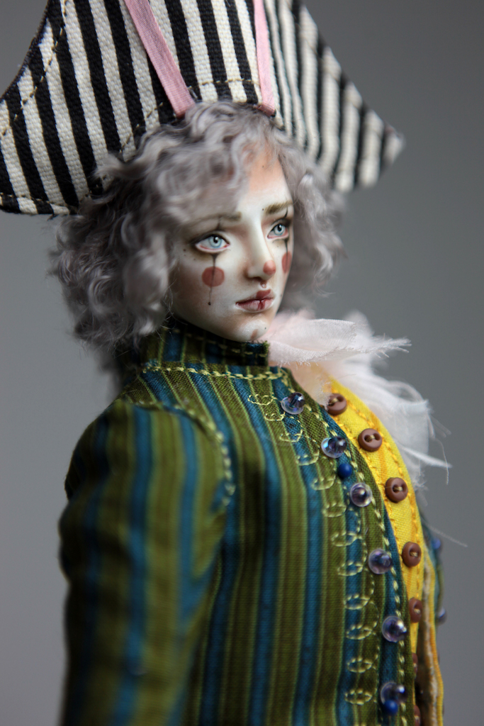Porcelain BJD Dolls Victorian Strawberry27 15 Victorian 1700s Pierrot Clown Porcelain BJD Doll