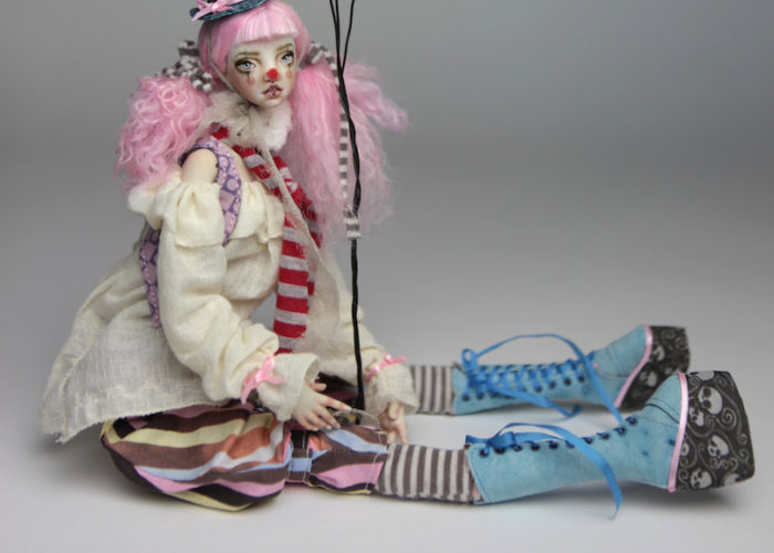 Porcelain BJD Doll Pierrot |BJD Dolls | Victorian Carousel Dolls and Clowns | Porcelain BJD Doll by Forgotten Hearts