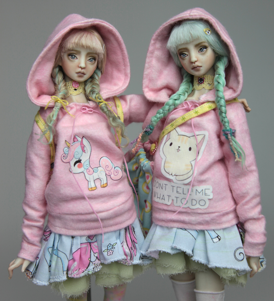 BJD Doll Ball Jointed Harajuku 2018 3 Pastel Goth Harajuku Twins BJD Dolls