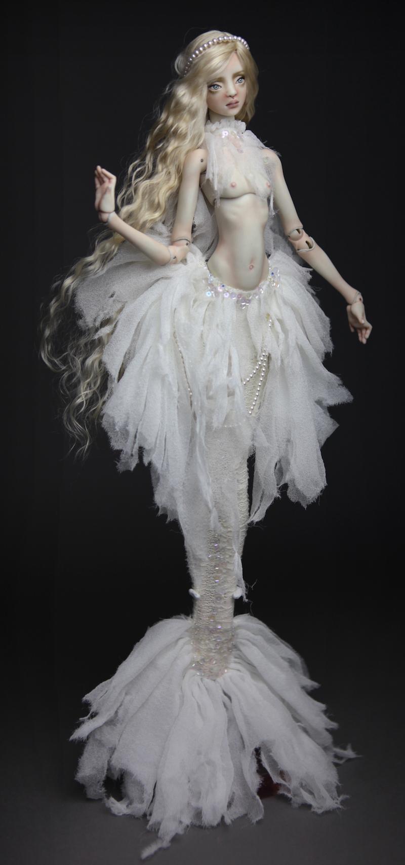 BJD Doll Ball Jointed Tattoed Baroque Sphinx 2 15 Porcelain BJD Doll   White Betta Mermaid Luna