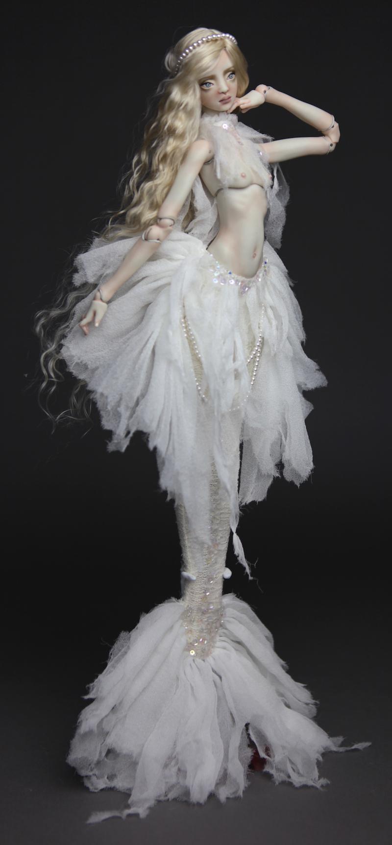 BJD Doll Ball Jointed Tattoed Baroque Sphinx 4 15 Porcelain BJD Doll   White Betta Mermaid Luna