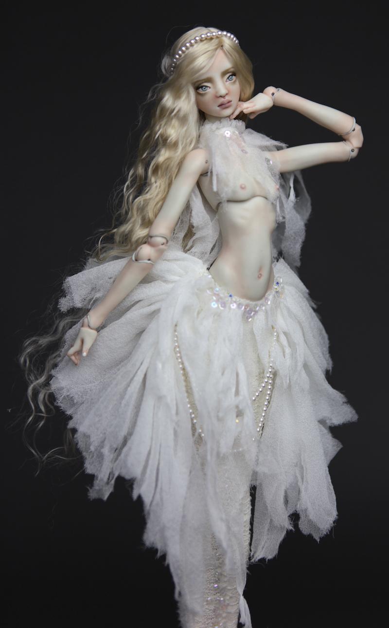 BJD Doll Ball Jointed Tattoed Baroque Sphinx 5 15 Porcelain BJD Doll   White Betta Mermaid Luna