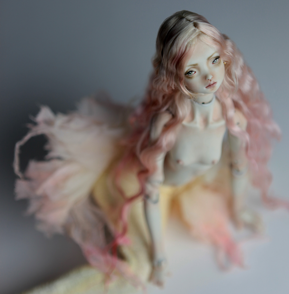 Cotton Candy Mermaid BJD Doll Ball Jointed Forgotten Hearts FHDolls Rose Gold Wig 1 2 15 Cotton Candy Lilly Nude