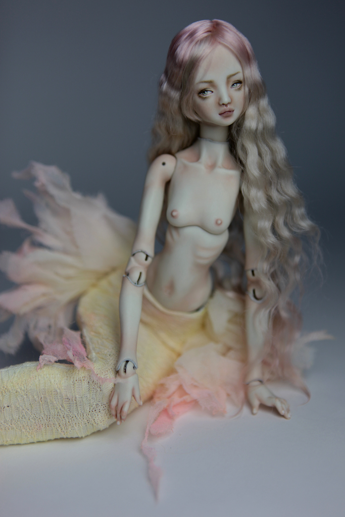 Cotton Candy Mermaid BJD Doll Ball Jointed Forgotten Hearts FHDolls Rose Gold Wig 1 4 15 Cotton Candy Ova Nude