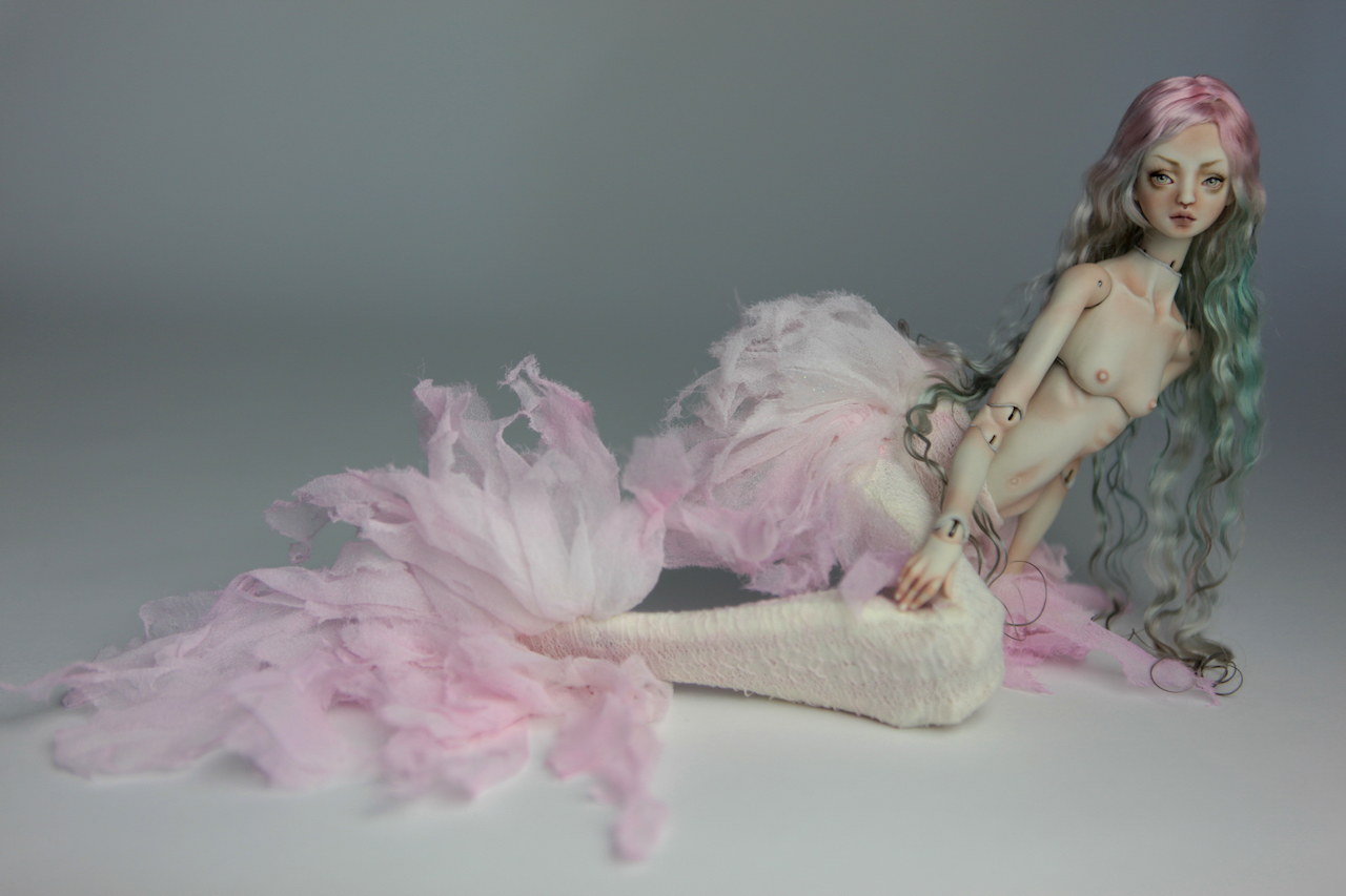Cotton Candy Mermaid BJD Doll Ball Jointed Forgotten Hearts FHDolls Rose Gold Wig 1 5 15 Cotton Candy Renaissance Nude
