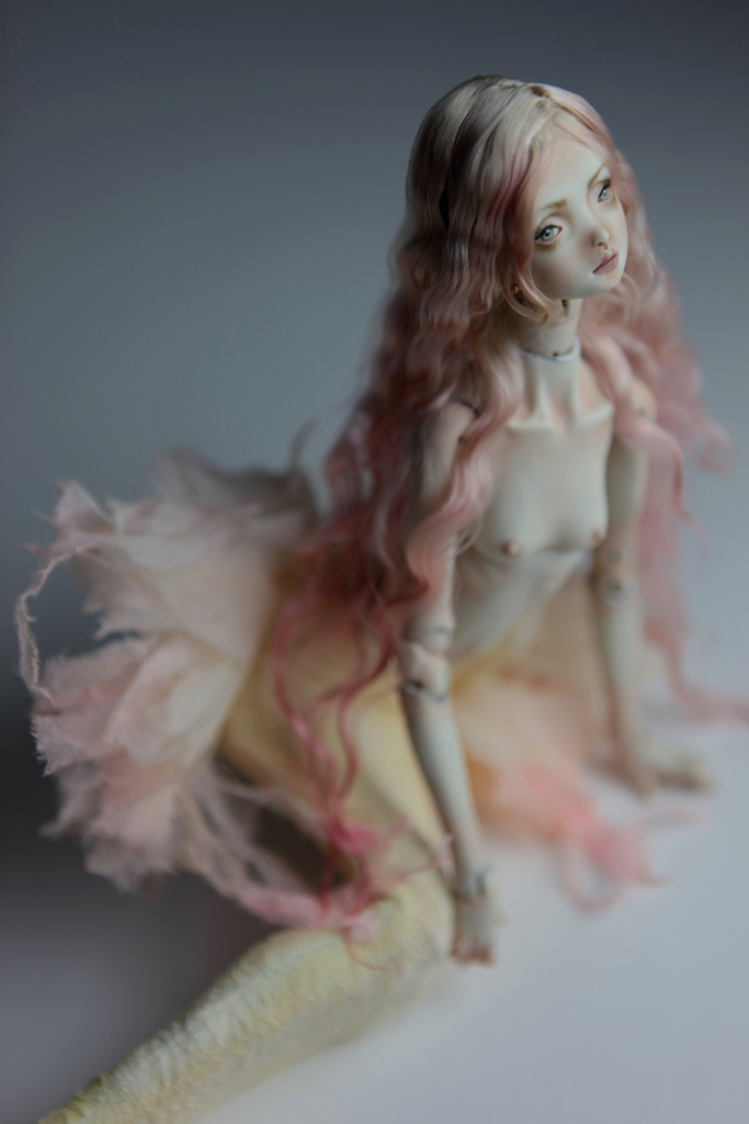 Cotton Candy Mermaid BJD Doll Ball Jointed Forgotten Hearts FHDolls Rose Gold Wig 2 2 15 Cotton Candy Lilly Nude