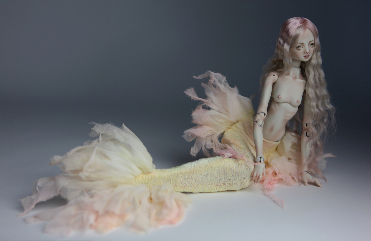 Cotton Candy Mermaid BJD Doll Ball Jointed Forgotten Hearts FHDolls Rose Gold Wig 2 4 15 Cotton Candy Ova Nude