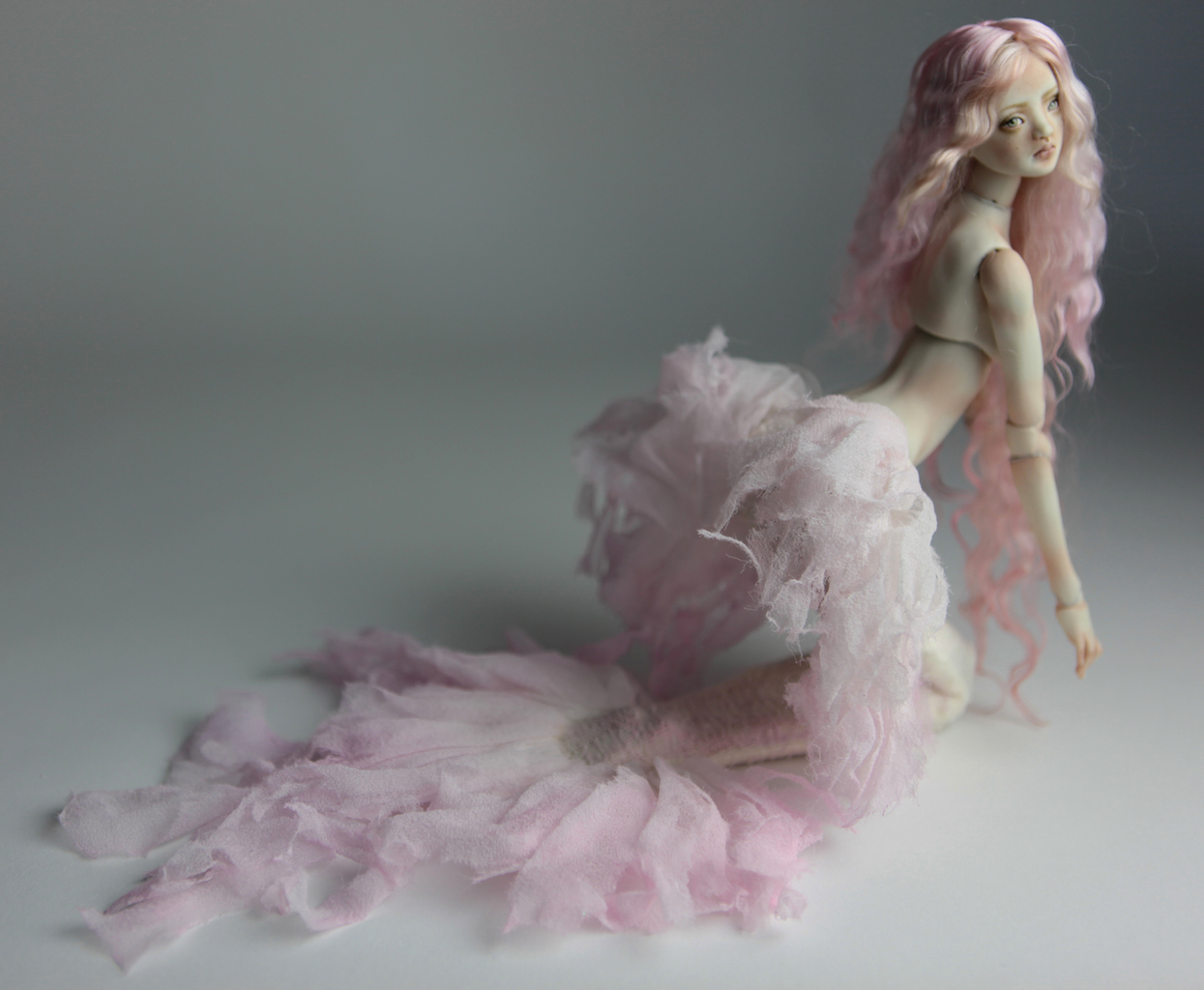Cotton Candy Mermaid BJD Doll Ball Jointed Forgotten Hearts FHDolls Rose Gold Wig 2 6 15 Cotton Candy Willow Nude