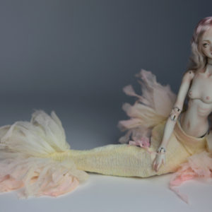 Cotton Candy Mermaid BJD Doll Ball Jointed Forgotten Hearts FHDolls Rose Gold Wig 3 300x300 Fine Art Couture