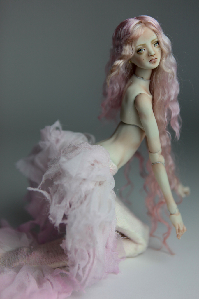Cotton Candy Mermaid BJD Doll Ball Jointed Forgotten Hearts FHDolls Rose Gold Wig 3 6 Porcelain BJD Dolls | Forgotten Hearts Dolls