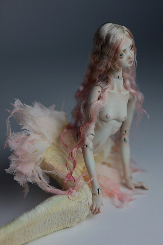Cotton Candy Mermaid BJD Doll Ball Jointed Forgotten Hearts FHDolls Rose Gold Wig 4 2 15 Cotton Candy Lilly Nude