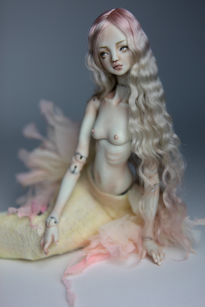 Cotton Candy Mermaid BJD Doll Ball Jointed Forgotten Hearts FHDolls Rose Gold Wig 4 4 15 Cotton Candy Ova Nude