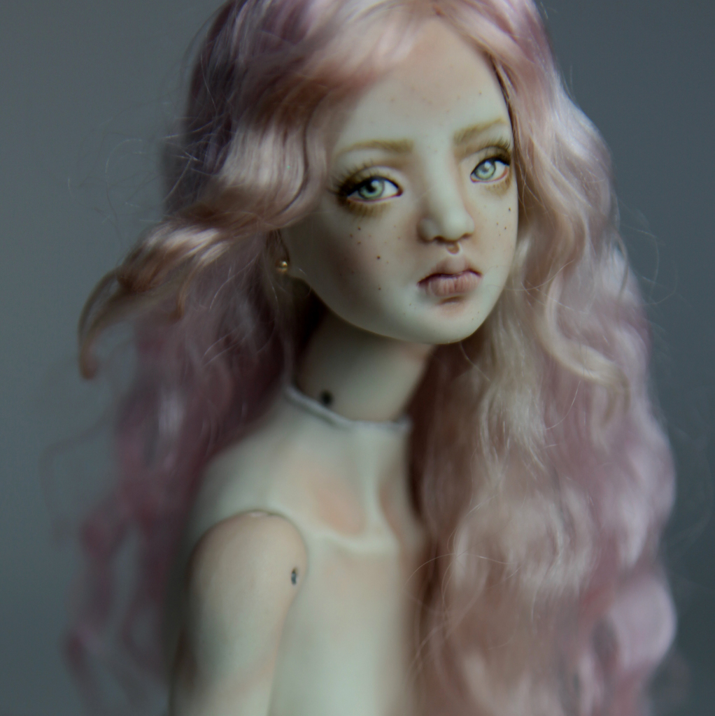 Cotton Candy Mermaid BJD Doll Ball Jointed Forgotten Hearts FHDolls Rose Gold Wig 4 6 15 Cotton Candy Willow Nude