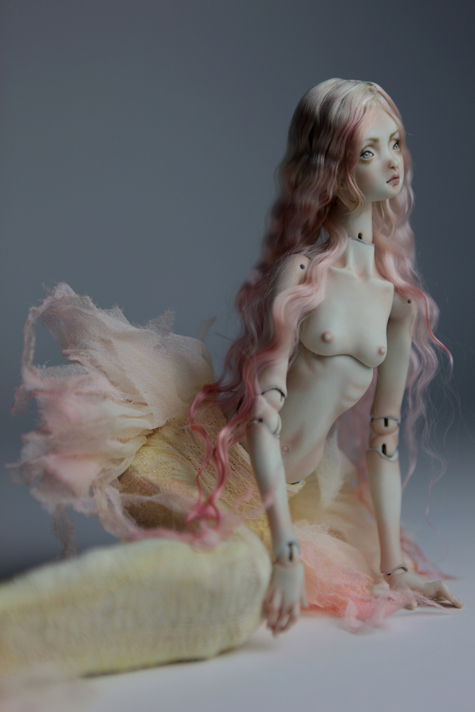 Cotton Candy Mermaid BJD Doll Ball Jointed Forgotten Hearts FHDolls Rose Gold Wig 5 3 15 Cotton Candy Lilly Nude