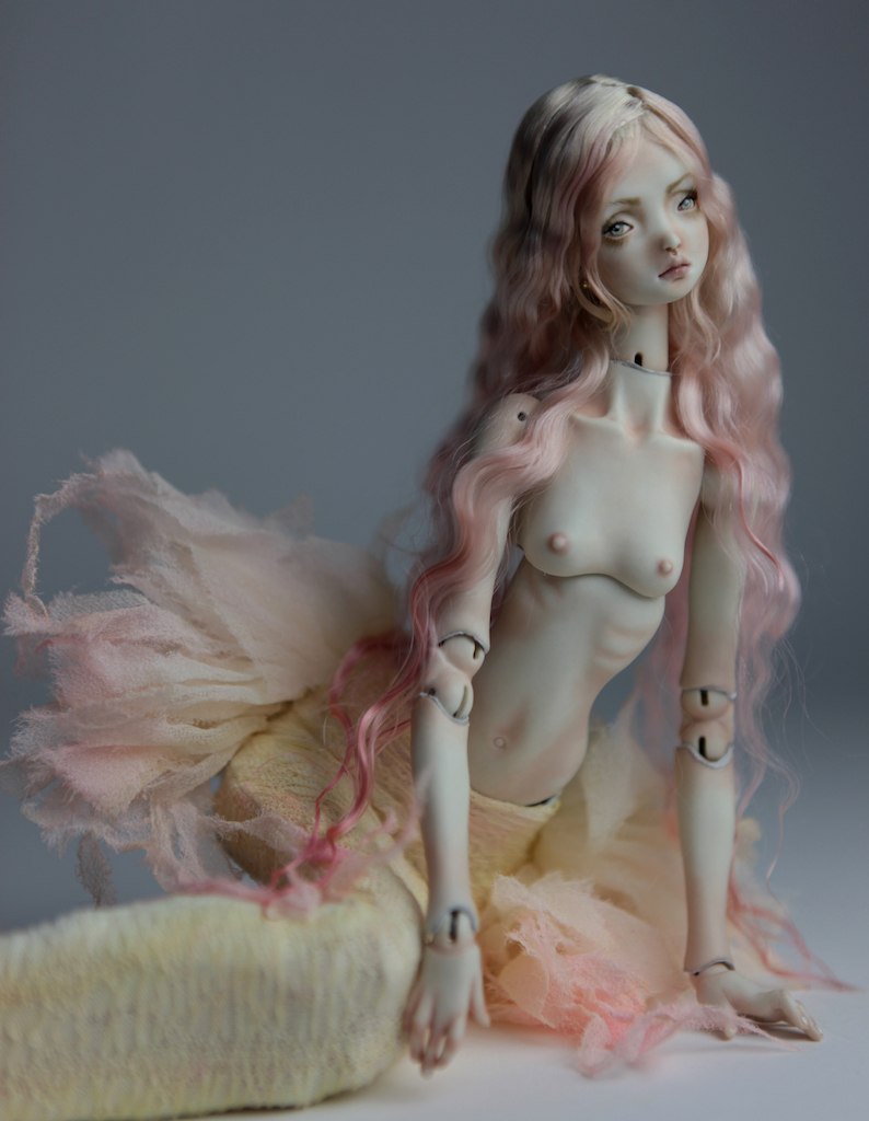 Cotton Candy Mermaid BJD Doll Ball Jointed Forgotten Hearts FHDolls Rose Gold Wig 6 2 15 Cotton Candy Lilly Nude