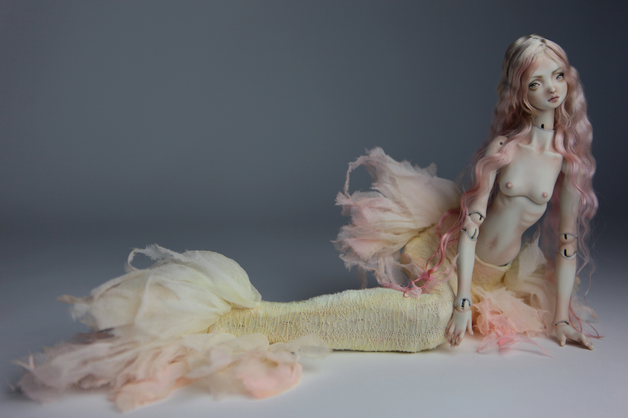 Cotton Candy Mermaid BJD Doll Ball Jointed Forgotten Hearts FHDolls Rose Gold Wig 7 1 15 Cotton Candy Lilly Nude